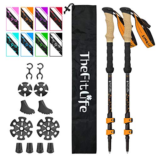TheFitLife Carbon Fiber Trekking Poles – Collapsible and Telescopic Walking Sticks with Natural Cork Handle and Extended EVA Grips, Ultralight Nordic Hiking Poles for Backpacking Camping (Orange)