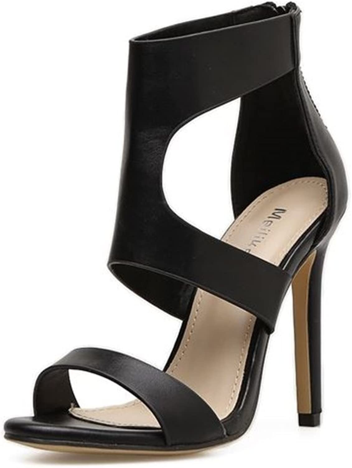 Fancyww Women Ankle Heels Sexy Peep Toe Platform Pumps shoes with Zip