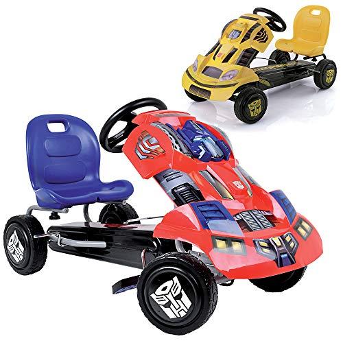 Hauck Transformers Go-Kart Optimus Prime für Kinder ab 4 Jahren, coole Karosserie, Handbremse für beide Hinterräder, verstellbarer Sitz, blau/rot