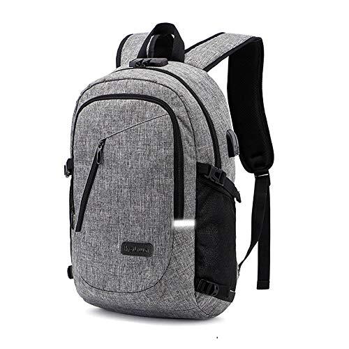 Business Laptop Rucksack Backpack, Kobwa 15.6 Inch Notebook Schulrucksack Computer Rucksäcke für Herren und Damen mit Anti-Theft, USB Charging Port und Headphone Port(Grau)
