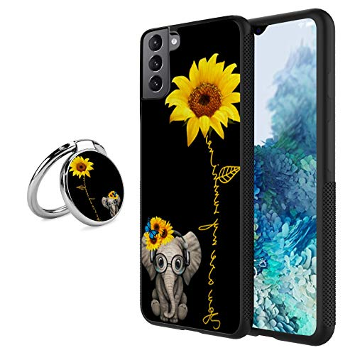 Elephant sunflower Case for Samsung Galaxy S21 Plus Case with Grip Ring Holder Multi-function Cover Slim Soft and Hard Tire Shockproof Protective Phone Case Slim Hybrid Shockproof Case for Samsung Gal