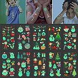 Guizu Luminoso Tatuajes Temporales para Niños,Pegatina de Tatuaje Impermeable,Navidad...