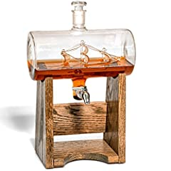 HAND-BLOWN BY SKILLED ARTISANS - brilliantly handcrafted, Lead-Free decanter with intricate handcrafted ship (boat) in striking detail, the handcrafted oak wooden base is made in Kentucky by master craftsmen (USA) for each decanter sold we plant a tr...