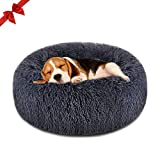 FOCUSPET Dog Bed Donut, Faux Fur Cuddler Bed Size Medium 23'' for Cats & Dogs Round Ultra Soft Washable Self Warming Pet Cuddler Beds