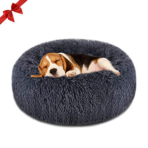 FOCUSPET Dog Bed Donut, Faux FurCuddler Bed Size Medium 23'' for Cats & Dogs Round Ultra Soft WashableSelf Warming Pet Cuddler Beds