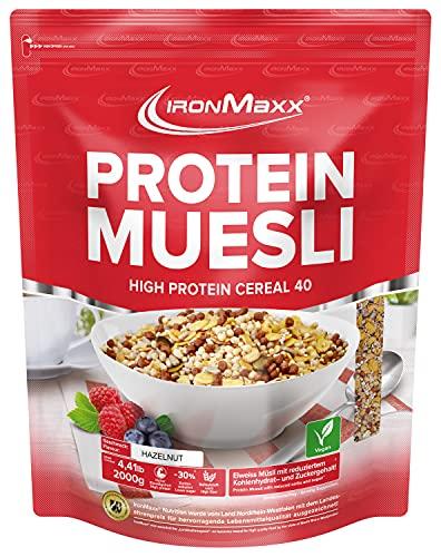IronMaxx Protein Müsli Veganes Eiweißmüsli laktosefrei, Geschmack Haselnuss, 2 kg Beutel (1er Pack)