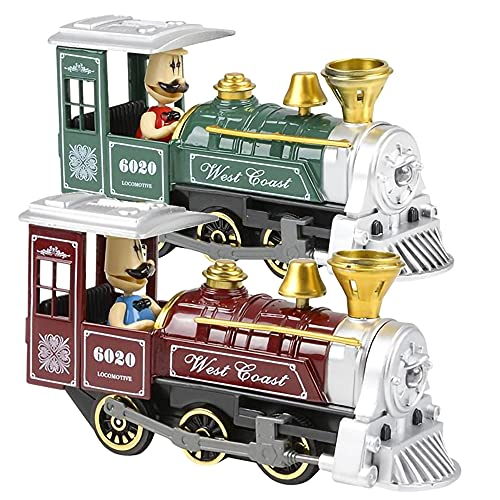 ArtCreativity Pull Back Train Toys for Kids, Set of 2, Diecast Metal Train with Sound Effects and Pullback Action, Choo Choo Trains for Boys and Girls, Great Birthday Idea