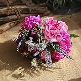 WanTo 2018 Mode Nouveau Bouquet de Mariage à la Main Fleur Artificielle Faux Soie Hortensia Fleurs Pivoine Fête De Mariage Maison DIY Décoration, Rose Rouge