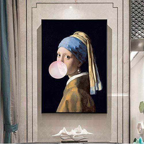 WAGUZA Mädchen mit Perlenohrringen Berühmte Kunst Leinwand Ölgemälde Reproduktionen Mädchen Schlag Rosa Blasen Wandkunst Poster Bild Wohnkultur