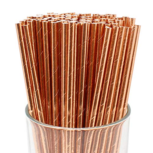 Just Artifacts Decorative Solid Paper Straws (100pcs, Solid, Metallic Rose Gold)