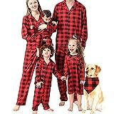 Matching Family Christmas Pajamas Set Buffalo Plaid Button-Front Pajamas Set Long Sleeve Christmas Holiday Sleepwear PJ Set (Red Black Women, Medium)