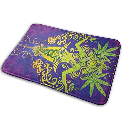 Bienvenido Felpudo antideslizante Marihuana Psychedelic Holy Cannabis Leaf Weed Felpudo antideslizante Felpudos de interior al aire libre Alfombrilla de piso Alfombras para el hogar Alfombra para entr
