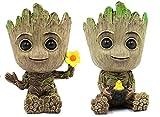 Ecosides 2 PCS Baby Groot Maceta - Figura de macetero para bebé Groot-Acción Modelo Lindo Juguete Pen Pot,Perfecto como Regalo (Estilo 7)