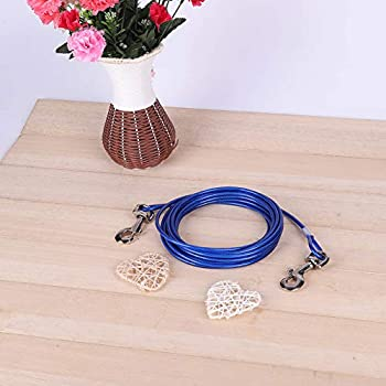 Câble d'attache pour chiens de 5 mm x 5 m, câble d'attache pour chien en fil d'acier 16,4 pi, corde de câble de sécurité pour animaux de compagnie pour camping en plein air, laisse pour chien(bleu)
