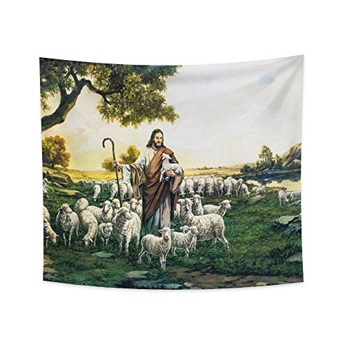 Renaiss 70.9x63.0 Inches Jesus Christ Tapestry Jesus with Sheep and Lamb Shepherd Trees Green Lawn Wall Hanging Tapestries Jesus Scenery Art Printed Blanket for Bedroom Living Room Dorm Decor