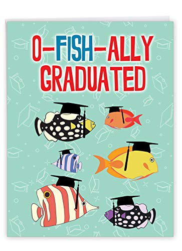 NobleWorks - Jumbo Funny Card for Graduation (8.5 x 11 Inch) - Big Humor Greeting Notecard for Students, Graduate - No More School