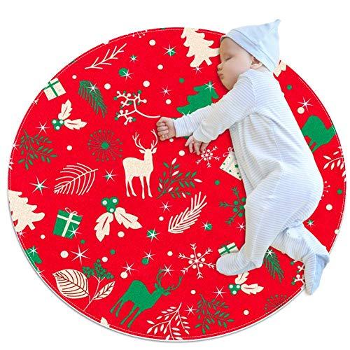 TIZORAX Shaggy - Alfombra redonda con diseño de hojas de árbol de Navidad y ciervo en una alfombra roja para sala de estar, dormitorios, guardería infantil