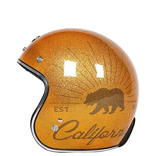 U/D Abra Casco de la Cara de la Motocicleta de Motocross 3/4 Casco Casco Hombres Mujeres Deportes Casco de protección de la Vendimia (Color : Oro, Size : XL)