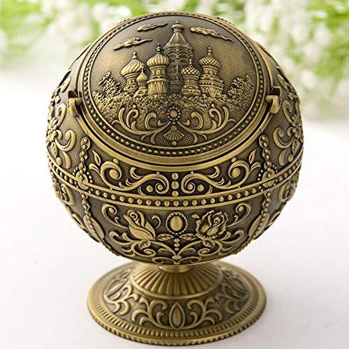 VOANZO Der Globus ist dekoriert Aschenbecher, Outdoor abgedeckt Winddicht Aschenbecher Retro Metall tragbaren Globus Aschenbecher