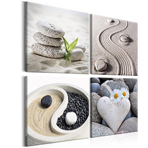 murando - Bilder Zen 40x40 cm Vlies Leinwandbild 4 Teilig Kunstdruck modern Wandbilder XXL Wanddekoration Design Wand Bild - Jing-Jang Steine Blumen beige Natur b-B-0234-b-i