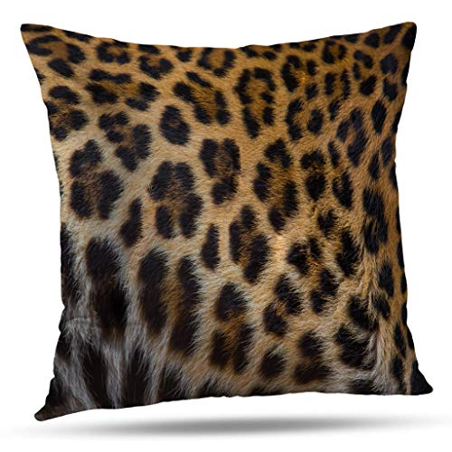 WAYATO Leopard Throw Pillow Covers, 22X22 Pillow Cover Cushion Rectangle Pillow Cover Beautiful Leopard Pattern Print Abstract Africa Animal Couch 22X22 Pillow Cover for Living Room, Brown
