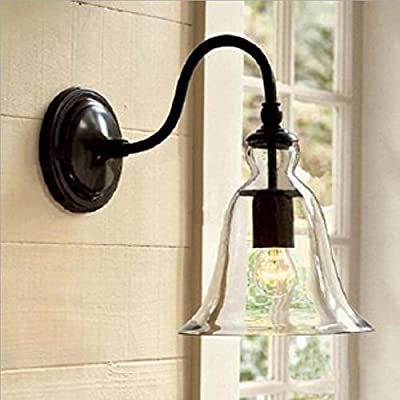 WINSOON Industrial Edison Simplicity Wall Mount Light Sconces Lamp Aged Steel Finished with Big Bell Glass Shade