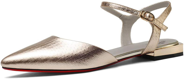 JZX High Heels,Sommer- Damen Groe Gre Spitzschuhe Echtes Leder Sandalen,Niedriger Absatz Frau Zehenkappe Geschlossen Riemchen Komfort JZX Golden   36