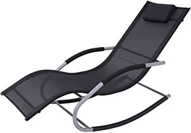 Black Outdoor Indoor Relaxing Rocking Chair Balcony Leisure Chair Recliners Easy Chair Beach Lounge Chair Patio Living Room R