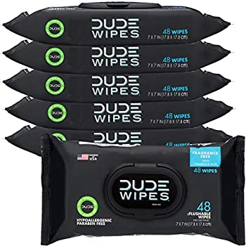 DUDE Wipes Flushable Wipes Dispenser Unscented Wet Wipes with Vitamin-E & Aloe for at-Home Use Septic and Sewer Safe 48 Count  Pack of 6