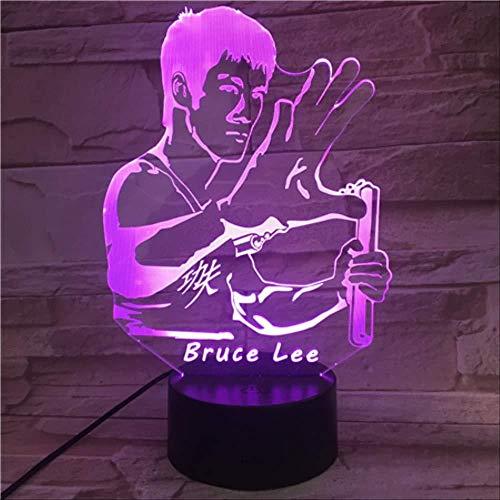 Bruce Lee Nunchakus Figur USB 3D Led Nachtlicht 7 Farben Ändern Kinder Baby Geschenke Chinesische Kung Fu Schreibtischlampe Schlafzimmer mit Fernbedienung Kind Geschenk