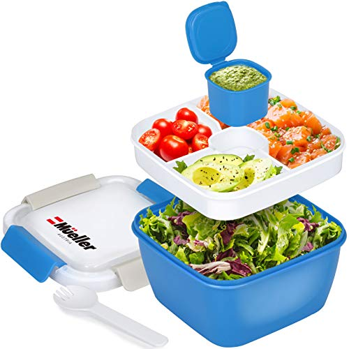 Mueller Salad Lunch Container To Go, Large 51-oz Salad Bowl, 3 Part Divided Tray, with Dressing Container and Reusable Spork Smart Locking Leakproof Salad Holder, (Blue)