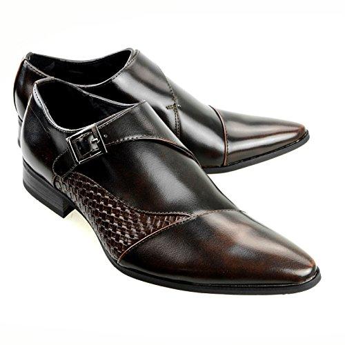 MM/ONE Men's Double Monk Strap Oxford Cap Toe Shoes Fashion Dress Shoe Slip-On Penny Loafer Black Brown,42 EU (US Men's 9-9.5 M)