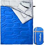 Ohuhu Double Sleeping Bag with 2 Pillows for 2 Person, Camping, Backpacking, Hiking