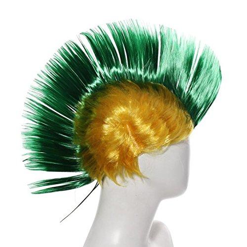 Hallowmas Perruque, Tonsee Coiffure Hallowmas mascarade Punk Mohawk Mohican crête-de-coq cheveux perruque Vert foncé