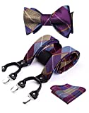 HISDERN Bretelle da uomo set papillon e fazzoletto Y Regolabile 6 Clip Modello classico