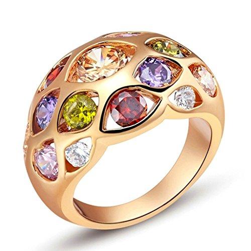 Daesar Damenring Versilbert Verlobungsring mit Stein Zirkonia Ring Rose Gold Ring Größe:52 (16.6)