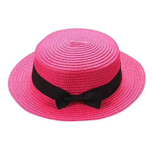 Sombrero para Niños y niñas Sombrero de Paja Sombrero de Playa Sombrero para el Sol de Ocio Verano Playa Viaje Vacaciones Sombrero de Pescador Color Sólido Padre-Hijo riou