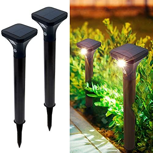 Faretti Solari Esterno con Sensore di Movimento 2 Pezzi Luce Solare da Giardino LED 2 modalità IP65 impermeabile luce solare per esterni di Luminosità per Patio, Cortile, Vialetto bianco caldo