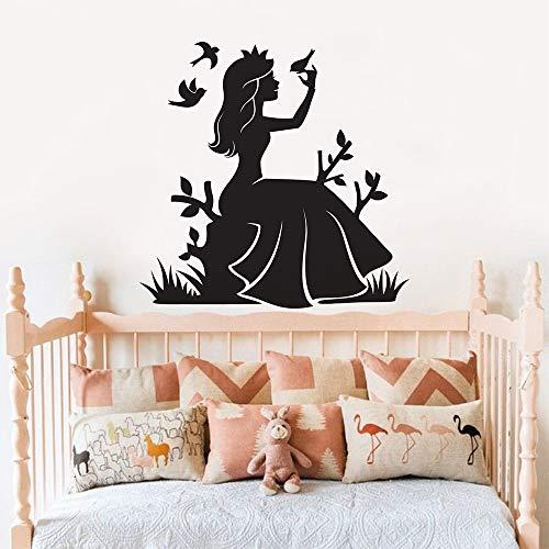 Geiqianjiumai fee meisjes prinses vinyl muursticker vogel muurschildering muur meisjes kleuterschool decoratie