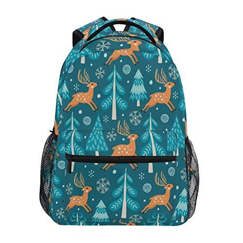 Ombra Backpack Christmas Reindeer Forest Tree School Shoulder Bag Large Waterproof Durable Bookbag Laptop Daypack for Students Kids Teens Girls Boys Elementary