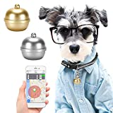 Pet Mini GPS Locator Five Positioning (GPS+AGPS+BDS+WiFi +LBS) Anti Lost Device IP67 Waterproof Kids Dog Cat Tracker Bell Key Finder Magnetic Charging (Silver)