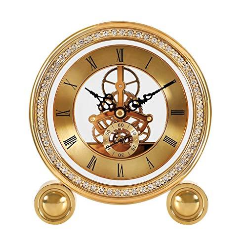 Reloj de escritorio del reloj de tabla de reloj Estante de cobre puro escritorio del reloj del escritorio de la sala de escritorio Decoración imitación mecánica decoración casera Reloj de escritorio