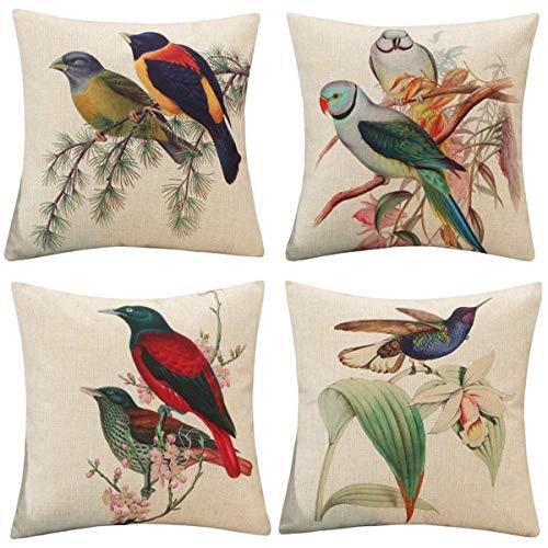 XIECCX Bird Throw Pillow Covers 18x18 Set of 4 Spring Home Decor Farmhouse Countryside Pillowcases Linen Cotton Cushion Cover for Sofa Porch Couch with Hidden Zipper