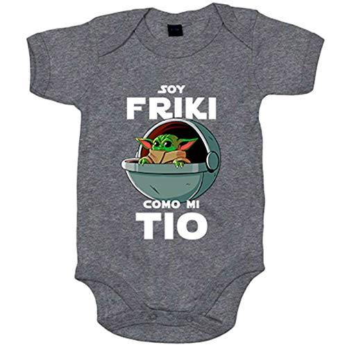 Body bebé soy friki como mi tio ilustración baby yoda - Gris, 6-12 meses