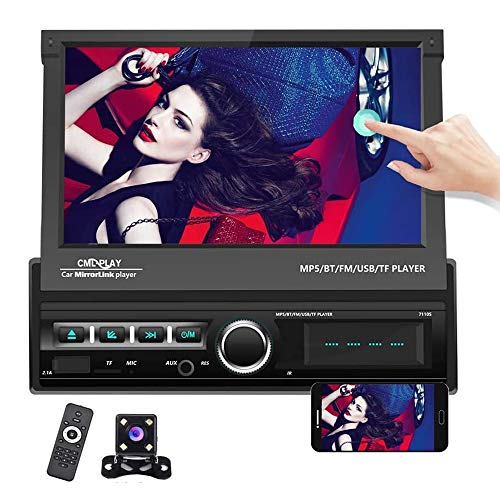 """Hikity Single Din Car Stereo 7"""" Folding Capacitive Touch Screen Radio FM Bluetooth Receive with USB/AUX-in/SD Card Port Supports Mirror Link for Android/iOS Phone + Backup Camera & Remote Controller"""