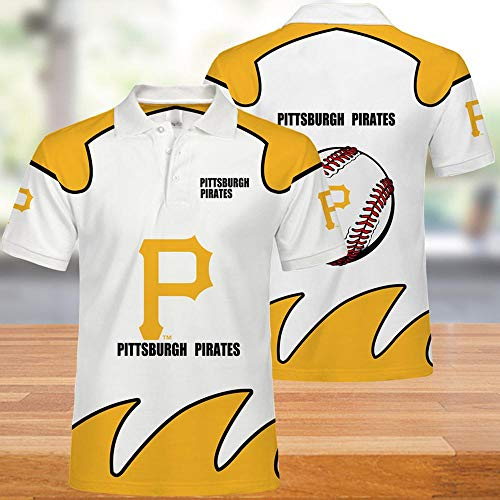 MLB T-Shirt Poloshirt Unterhemd - Pittsburgh Pirates 3D-Druck Kurzarm T-Shirts Unisex Sommer Casual Sweatshirt Top - Teen Geschenke - Für Basketball Training White+Yellow- XXL