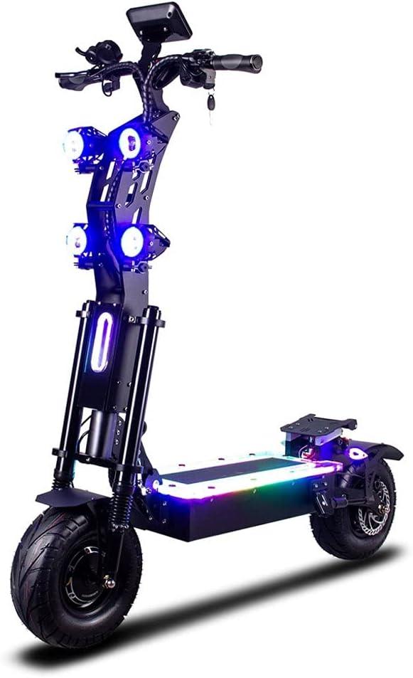 LFDZSW Scooter de Rueda de Grasa de 13 Pulgadas con Rango de 90-130kms 90km / h Velocidad Dual Motor Big Wheel E Bike LED Scooter eléctrico