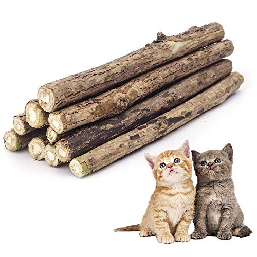 ✮GARANTÍA DE POR VIDA✮-Colonel Cook®- 10 Palitos Matatabi-catria/nébeda/hierba gatera/catnip orgánica natural (actinidia polygama) sabor a menta lucha contra el mal aliento - juguete para gatos