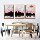 Paisaje abstracto Decoración del hogar Pintura de lienzo nórdica Paisaje Sala de estar Arte de la pared Impresión del amanecer Imagen impresionista-50X70Cmx3 piezas sin marco