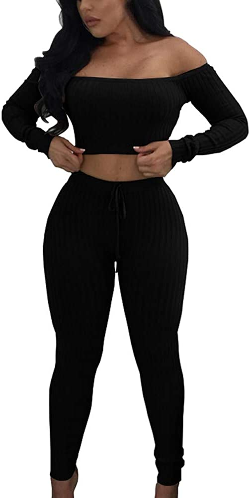 Women Suits for Workout 2 Pieces Bodycon Off Shoulder Long Sleeved Top Stretch Thread Trousers Sportswear Set